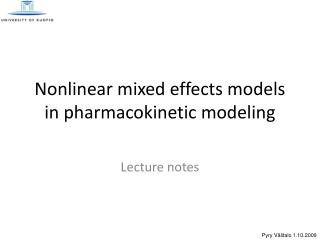 Nonlinear mixed effects models in pharmacokinetic modeling