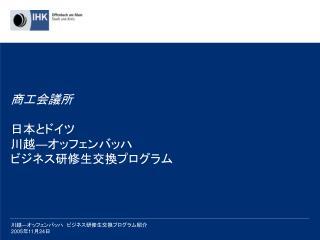 商工会議所 日本とドイツ 川越 ― オッフェンバッハ ビジネス研修生交換 プログラム