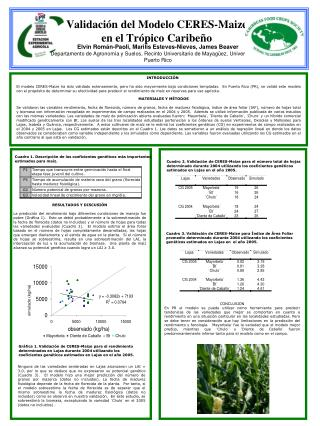 Validaci�n del Modelo CERES-Maize en el Tr�pico Caribe�o