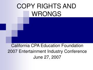 COPY RIGHTS AND WRONGS