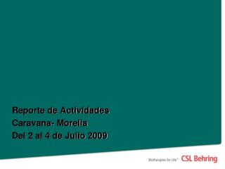 Reporte de Actividades Caravana- Morelia Del 2 al 4 de Julio 2009
