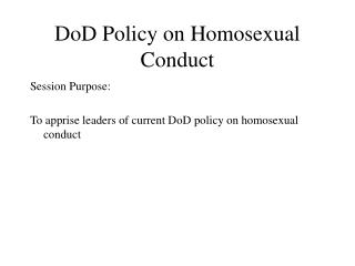 DoD Policy on Homosexual Conduct
