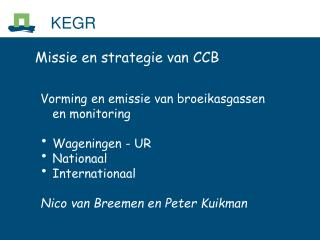 Missie en strategie van CCB