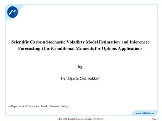 Scientific Carbon Stochastic Volatility Model Estimation and Inference: