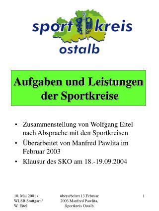 Aufgaben und Leistungen  der Sportkreise