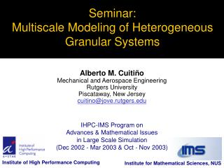 Seminar: Multiscale Modeling of Heterogeneous Granular Systems