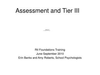 Assessment and Tier III