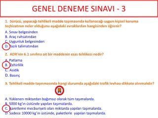 GENEL DENEME SINAVI - 3