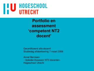 Portfolio en assessment 'competent NT2 docent'