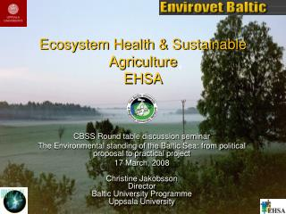Ecosystem Health & Sustainable Agriculture  EHSA
