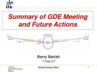 Summary of GDE Meeting and Future Actions