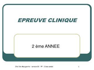 EPREUVE CLINIQUE