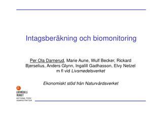 Intagsberäkning och biomonitoring