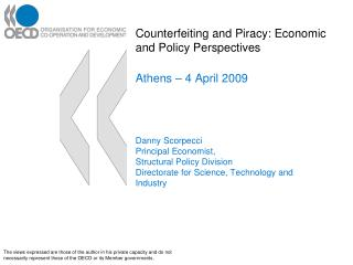 counterfeiting and piracy: economic and policy perspectives