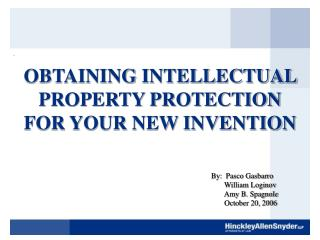 obtaining intellectual property protection for your new invention