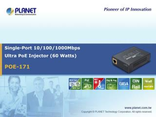 Single-Port 10/100/1000Mbps  Ultra PoE Injector (60 Watts)
