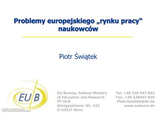 """Problemy europejskiego """"rynku pracy"""" naukowc ów"""