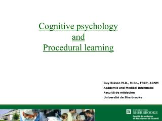 Cognitive psychology and Procedural learning