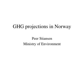 GHG projections in Norway