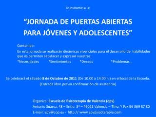 """Te invitamos a la: """"JORNADA DE PUERTAS ABIERTAS PARA JÓVENES Y ADOLESCENTES"""" Contenido:"""