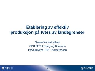 Etablering av effektiv  produksjon p� tvers av landegrenser