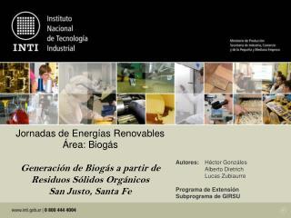 Autores: Héctor Gonzáles  Alberto Dietrich  Lucas Zubiaurre Programa de Extensión