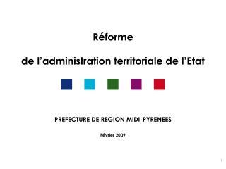 Réforme de l'administration territoriale de l'Etat