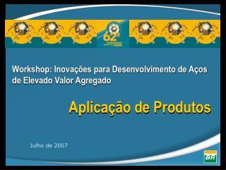 Workshop: Inovações para Desenvolvimento de Aços de Elevado Valor Agregado Aplicação de Produtos