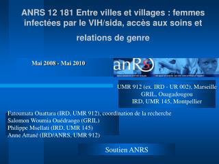 ANRS 12 181 Entre villes et villages : femmes infect es par le VIH