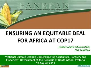 ENSURING AN EQUITABLE DEAL FOR AFRICA AT COP17