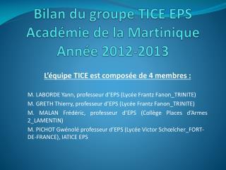 Bilan du groupe TICE EPS Académie de la Martinique Année  2012-2013