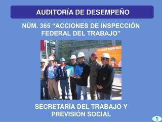 N�M. 365 �ACCIONES DE INSPECCI�N FEDERAL DEL TRABAJO�