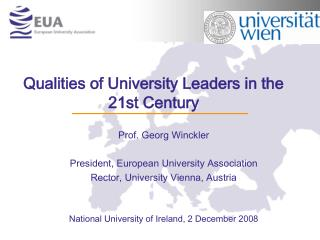 Qualities of University Leaders in the 21st Century