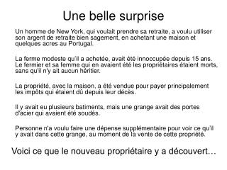 Une belle surprise