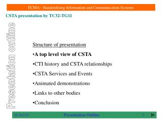 Structure of presentation A top level view of CSTA CTI history and CSTA relationships