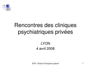 Rencontres des cliniques psychiatriques privées