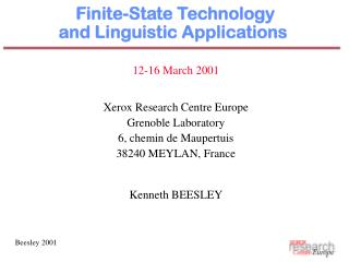 Finite-State Technology  and Linguistic Applications