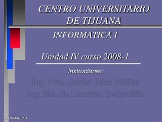 INFORMATICA I Unidad IV curso 2008-1