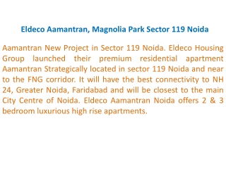 Eldeco Noida !9899303232! Eldeco Aamantran, Magnolia Park