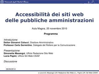 Accessibilità dei siti web delle pubbliche amministrazioni
