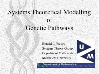 Ronald L. Westra Systems Theory Group Department Mathematics Maastricht University