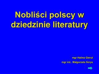 Nobliści polscy w dziedzinie literatury