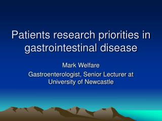 Patients research priorities in gastrointestinal disease