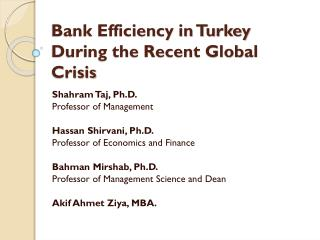 Bank Efficiency in Turkey During the Recent Global Crisis