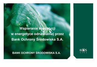 Wspieranie inwestycji w energetyce odnawialnej przez Bank Ochrony Środowiska S.A.