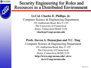 Security Engineering for Roles and Resources in a Distributed Environment