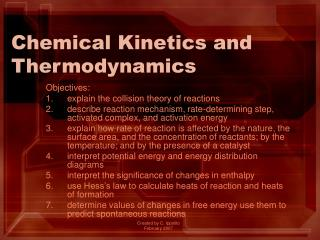 Chemical Kinetics and Thermodynamics