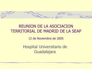 REUNION DE LA ASOCIACION TERRITORIAL DE MADRID DE LA SEAP 12 de Noviembre de 2005