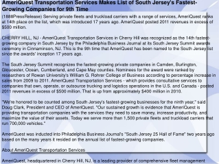 AmeriQuest Transportation Services Makes List of South Jerse
