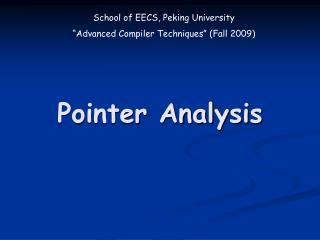 Pointer Analysis